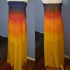 Plus Size Strapless Ombre Maxi Dress